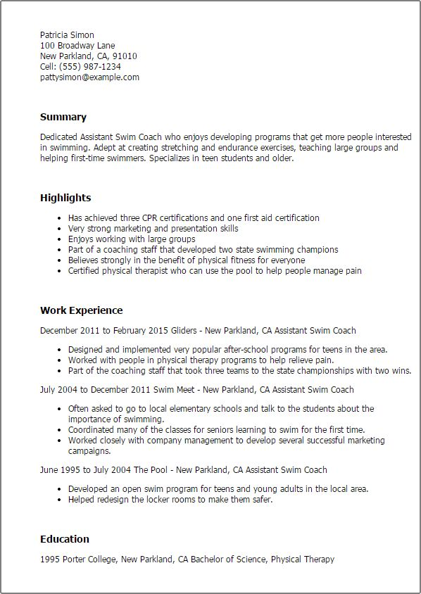 coaching resume sample coach resume example sample professional