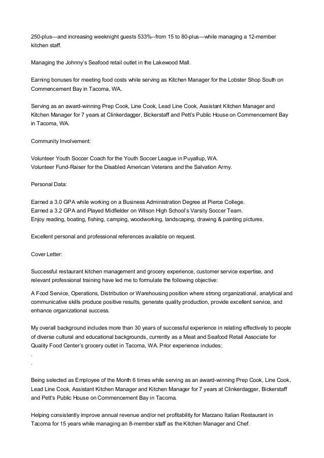 kitchen manager cover letter kitchen manager resume job sample