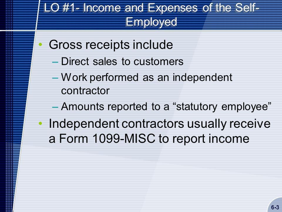 Chapter 6 Self-Employed Business Income Schedule C - ppt download