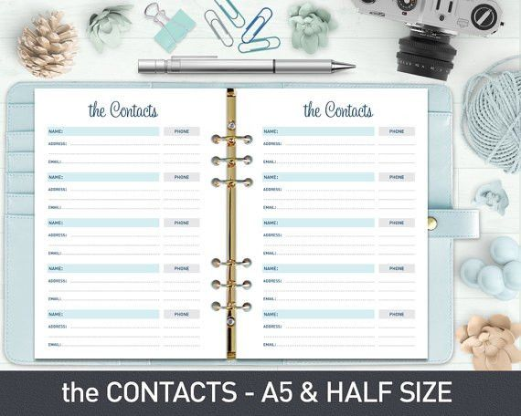 A5 Contact List Printable Contact Sheet by ProGraphicDesign ...