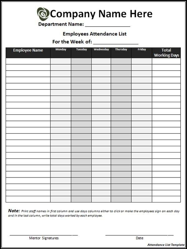 Attendance List. Attendance Template Ms Word 2007 Templates ...