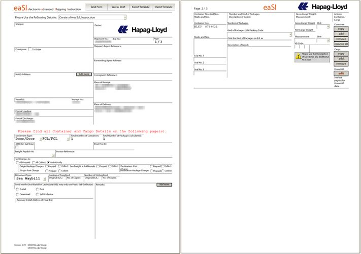 User Guide: Shipping Instruction Form - Hapag-Lloyd