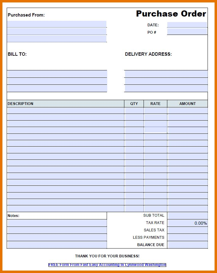 6+ free purchase order template | Itinerary Template Sample