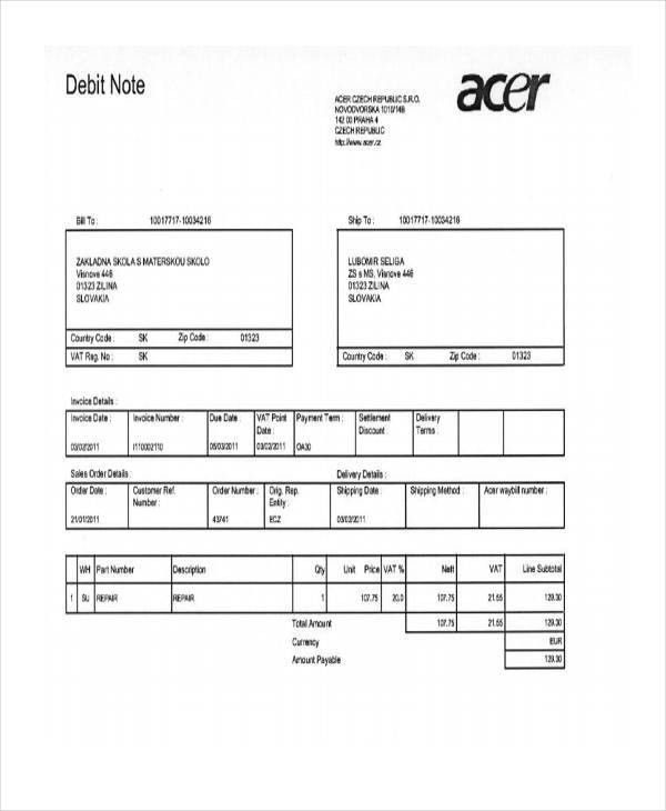 Stunning Debit Note Template Ideas - Best Resume Examples for Your ...