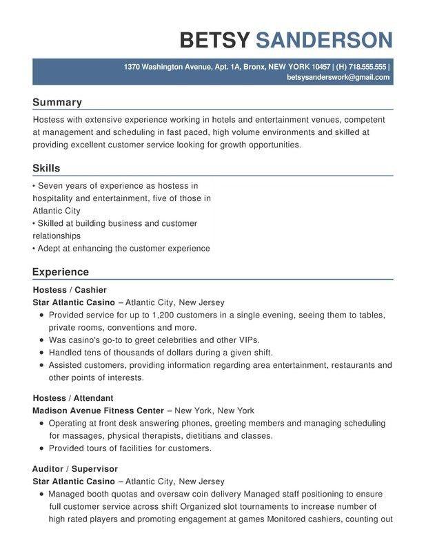 Hotel & Hospitality Functional Resumes - Resume Help