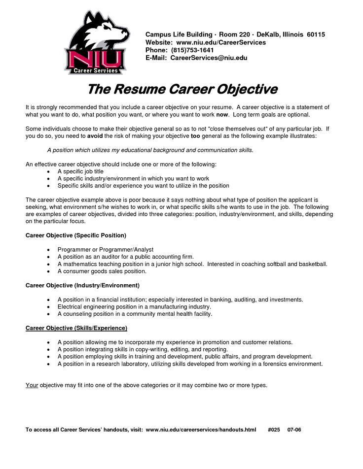 sample career objectives examples for resumes. resume at career ...