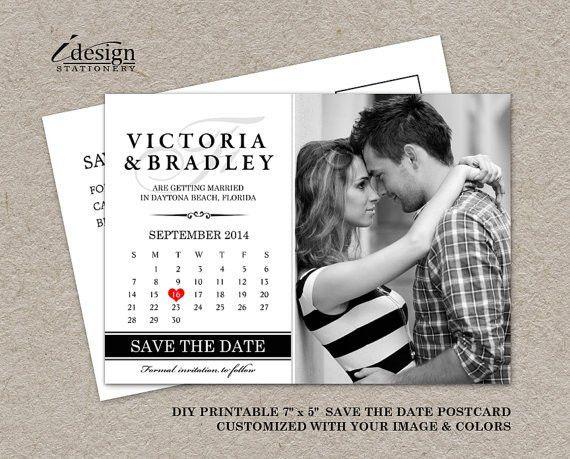 DIY Printable Calendar Save The Date Postcard Photo Save The