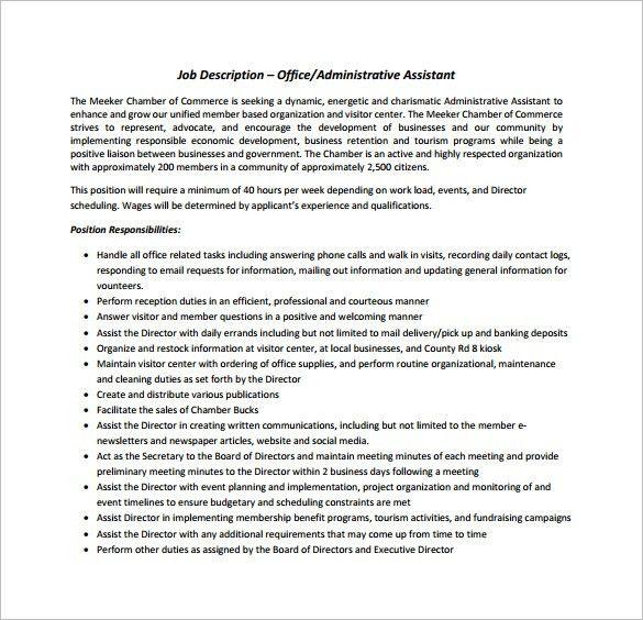 Office Assistant Job Description Template - 9+ Free Word, PDF ...