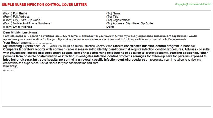Infection Control Nurse Cover Letters