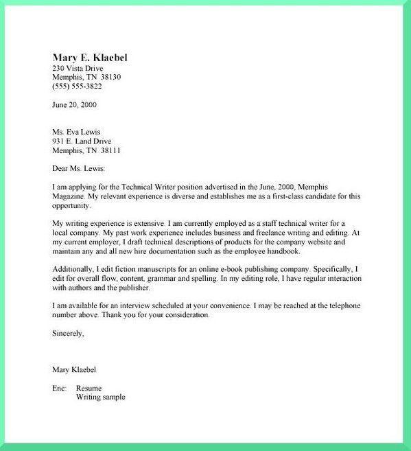 Technical Writer Cover Letter | Sample Resumes