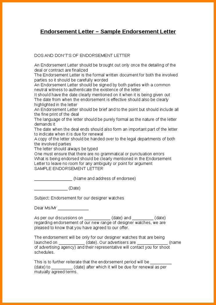 endorsement letter sample. endorsement letter for employment 19 ...