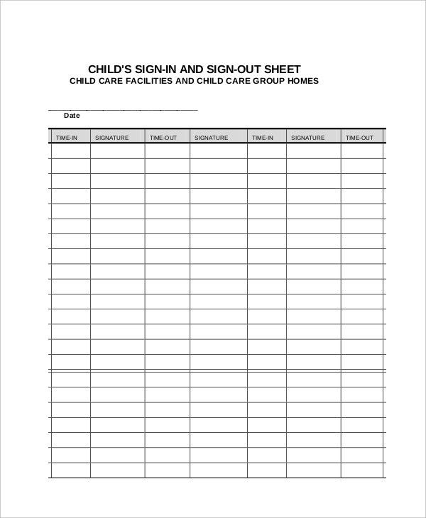 Sample Medical Sign In Sheet Template. Basic Appointment Sign In ...