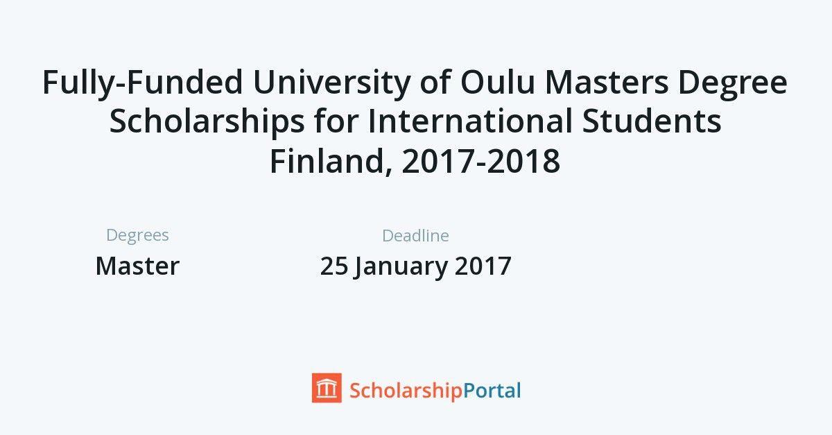 Fully-Funded University of Oulu Masters Degree Scholarships for ...