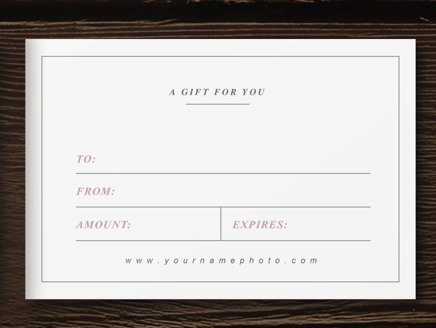 Photographer Gift Card Template - Laurel