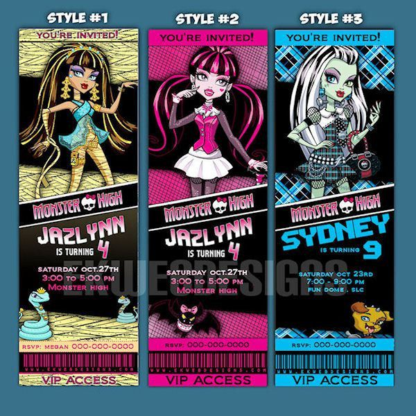 Monster High Invitation - Printable Monster High ticket style ...