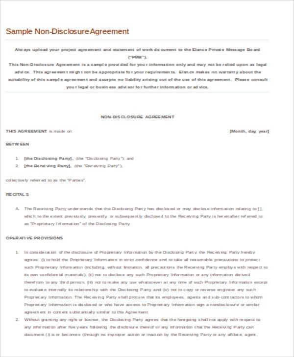 Sample Business Non Disclosure Agreement - 7+ Examples in Word, PDF