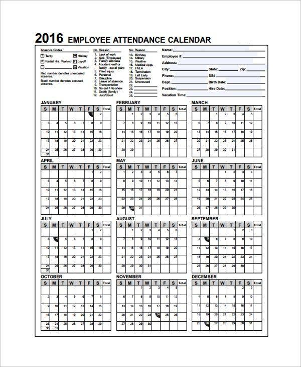Attendance Calendar Template. Monthly Class Attendance Calendar 41 ...