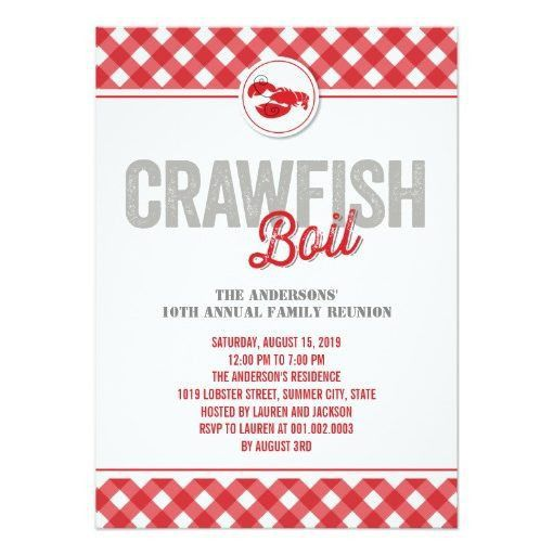 Crawfish Boil Family Reunion Summer Party Paper Invitation Card