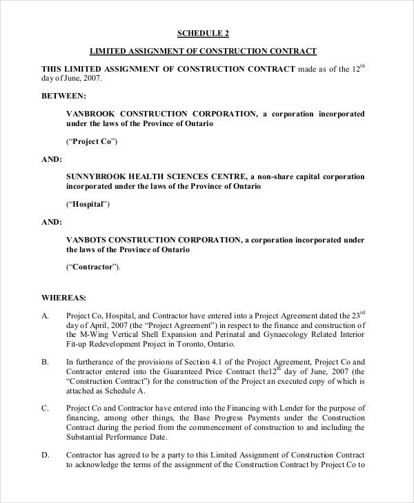 7+ Sample Contract Assignment Forms | Sample Forms