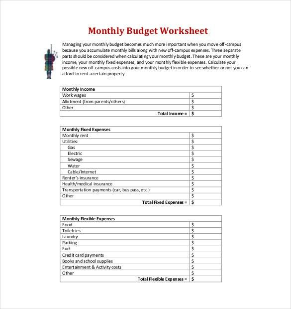 9+ Monthly Budget Templates – Free Sample, Example, Format ...