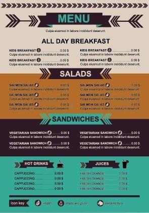 Restaurant menu price list template vector Free vector in ...