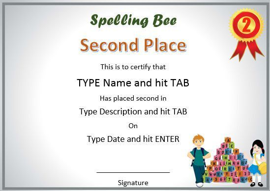 21 Free Printable Spelling Bee Certificates: Participation, Winner ...