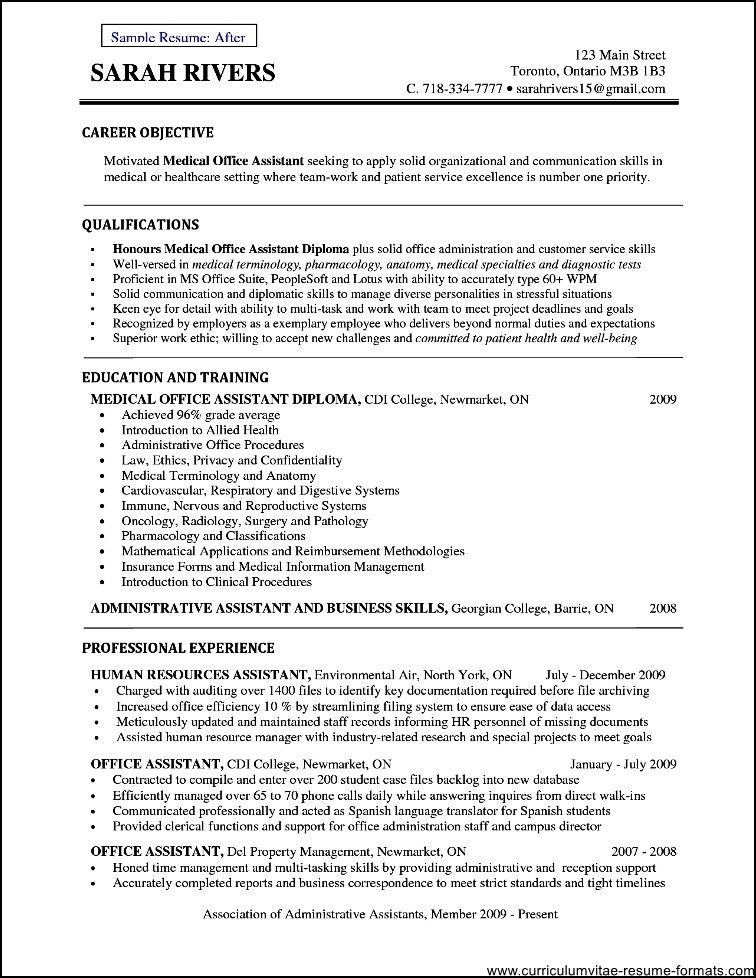Doctors Office Manager Resume Document Sample - Free Samples ...