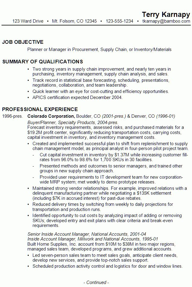 Resume for Supply Chain Management - Susan Ireland Resumes