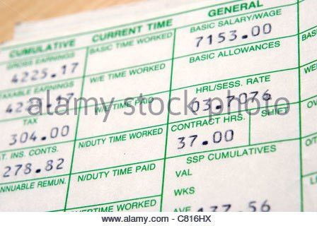 UK wage slip. Tax and national insurance deductions Stock Photo ...