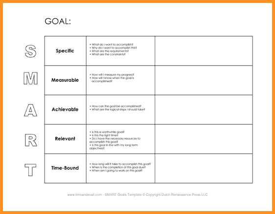 7+ smart goal template doc   cook resume