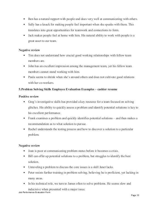 Cashier resume performance appraisal
