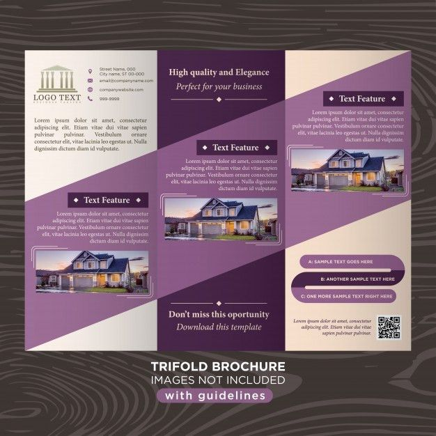 Elegant purple business design trifold brochure template Vector ...