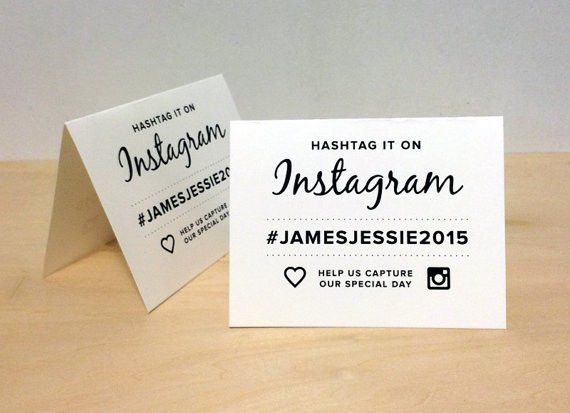Instagram Wedding Hashtag Tent Card - Printable Download Custom ...