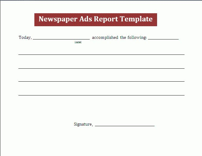 Sample Newspaper Report Template | Free Report Templates