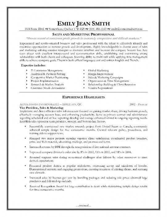 The Most Incredible Sales And Marketing Sample Resume | Resume ...