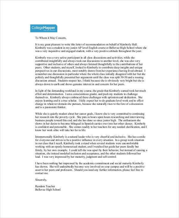 7+ Student Reference Letter Templates - Free Samples, Examples ...
