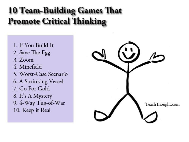 10 team building games that promote critical thinking from Teach ...