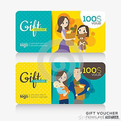 Supermarket coupon voucher or gift card design template | ideas ...