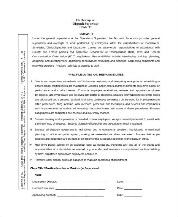Sample Dispatcher Job Description - 10+ Examples in Word, PDF