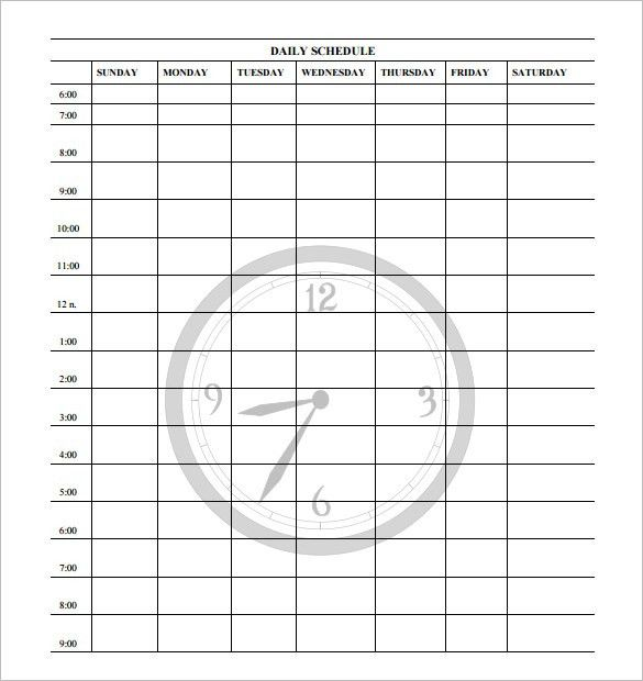 Day Schedule Template – 7+ Free Word, Excel, PDF Format Download ...