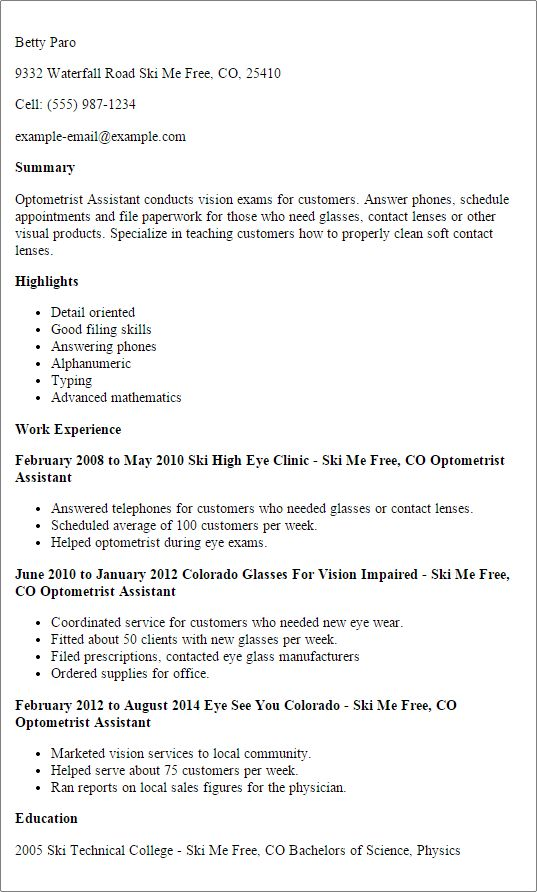 Best Optometric Technician Resume Samples - SampleBusinessResume ...