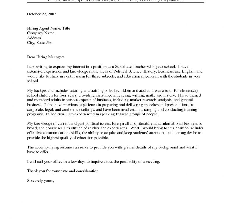 Awesome Ideas Teacher Cover Letters 15 For Elementary Education ...