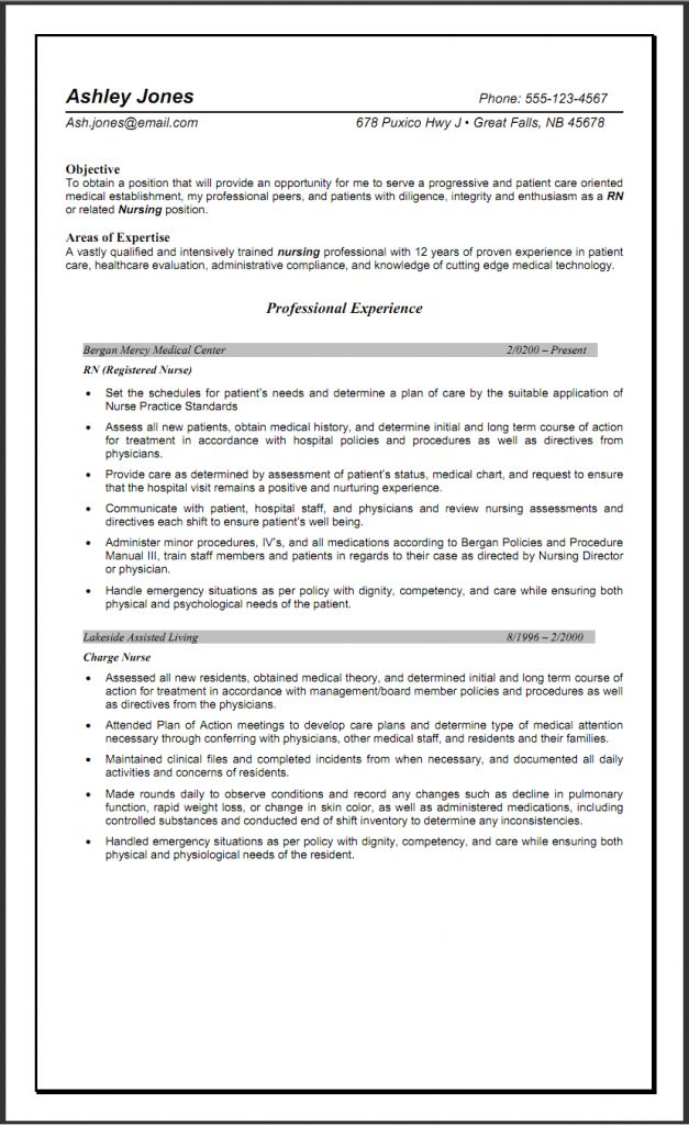 Sample Nursing Home Experienced RN Resume | Sample Nursing Resumes
