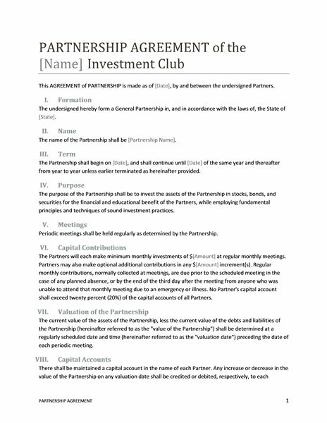 business investment contract template free
