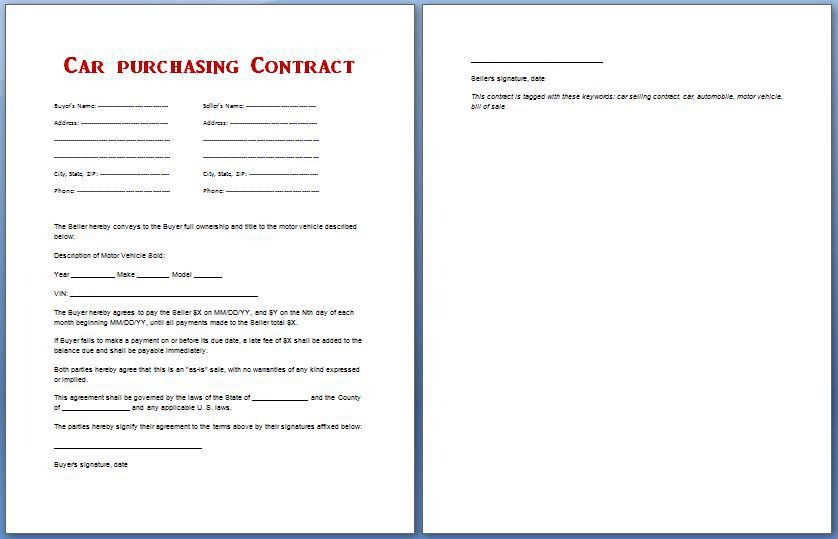 Car Purchase Contract Template for MS Word | Formal Word Templates