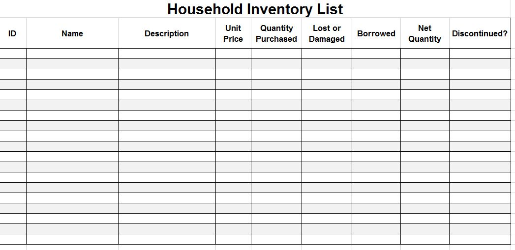 excel inventory spreadsheet template