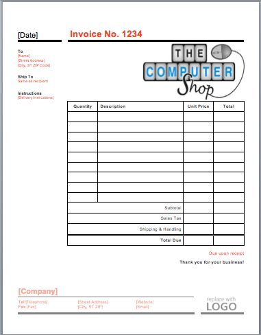 Computer Repair Invoice Template   Free Quotation Templates