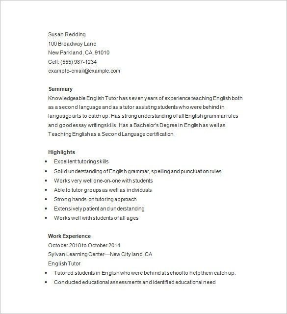 Tutor Resume Template – 13+ Free Samples, Examples, Format ...