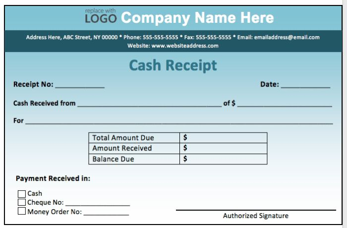 High Quality Fill-in Template Sample For Cash Payment Receipt ...