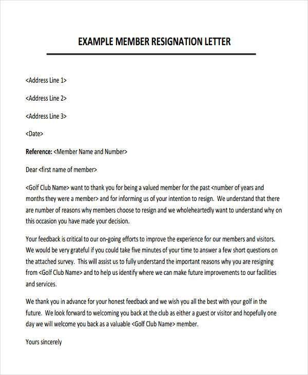Membership Resignation Letters Template - 8+ Free Word, PDF Format ...
